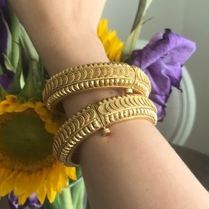 Jewelry - Golden Bangle Pair with Screw Closure